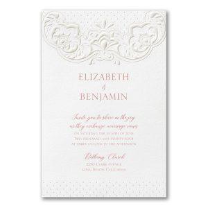 Lacy Flourish in White Wedding Invitation Icon