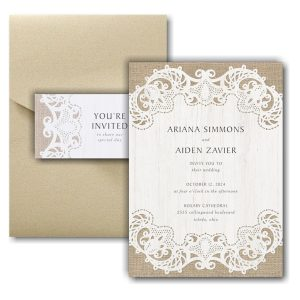 Ornate Burlap Pocket Wedding Invitation Icon