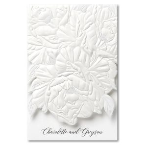Perfect Peonies in White Wedding Invitation Icon