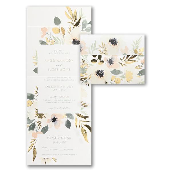 Soft Floral All 'n One Wedding Invitation