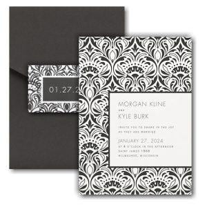 Trimmed in Damask Pocket Wedding Invitation Icon