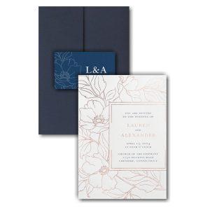 Vivid Floral Outlines Pocket Wedding Invitation Icon