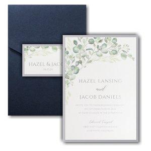 Watercolor Verdure Layered Pocket Wedding Invitation Icon