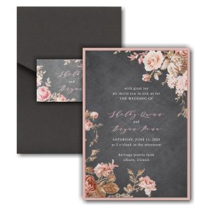Wooden Blossoms Layered Pocket Wedding Invitation Icon