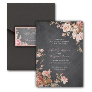 Wooden Blossoms Pocket Wedding Invitation Icon