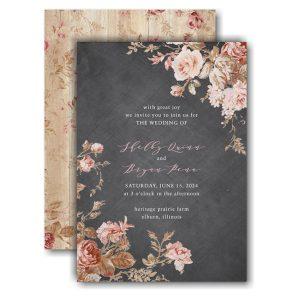 Wooden Blossoms Wedding Invitation Icon