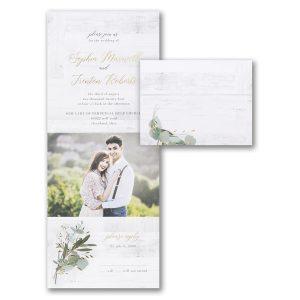 Woodgrain Foliage All 'n One Wedding Invitation Icon