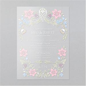 Antique Blossoms Clear Vinyl Wedding Invitation Icon