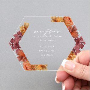 Burnt Floral Clear Acrylic Reception Card