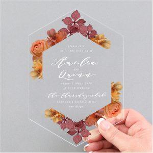 Burnt Floral Clear Acrylic Wedding Invitation