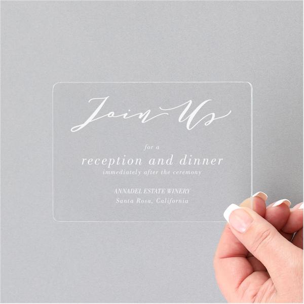 Charming Impression Clear Acrylic Reception Card