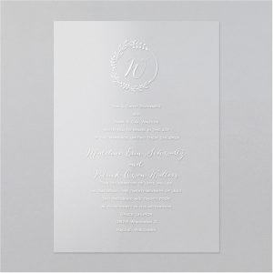 Floral Emblem Clear Vinyl Wedding Invitation Icon