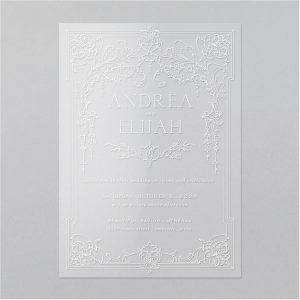 French Ornamentation Clear Vinyl Wedding Invitation Icon