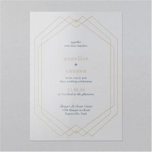 Geo Lined Clear Vinyl Wedding Invitation Icon