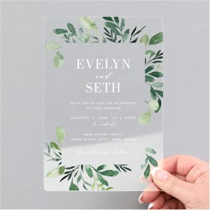 Greenery Framework Clear Acrylic Wedding Invitation Icon