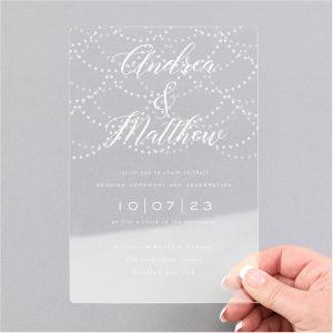 Hanging Lights Clear Acrylic Wedding Invitation Icon