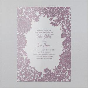 Ornamental Floral Clear Vinyl Wedding Invitation Icon