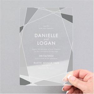 Ornate Geo Clear Acrylic Wedding Invitation Icon