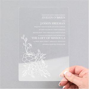 Pretty Peonies Clear Acrylic Wedding Invitation Icon