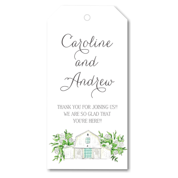 White Florals and Barn Gift Tag