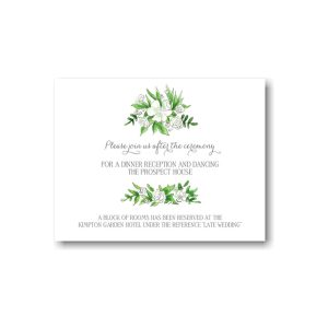 White Florals and Barn Reception Card