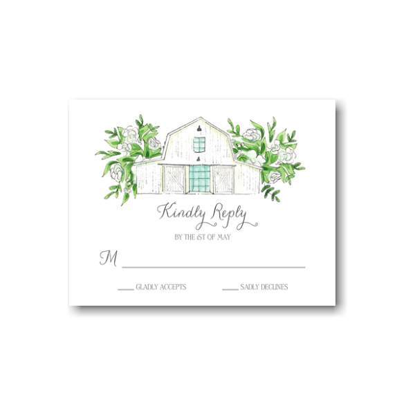 White Florals and Barn Response Card
