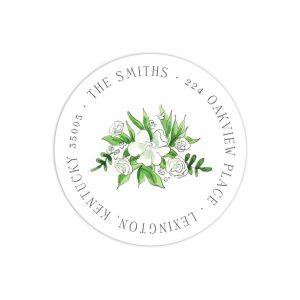 White Florals and Barn Return Address Label