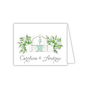 White Florals and Barn Thank You Note