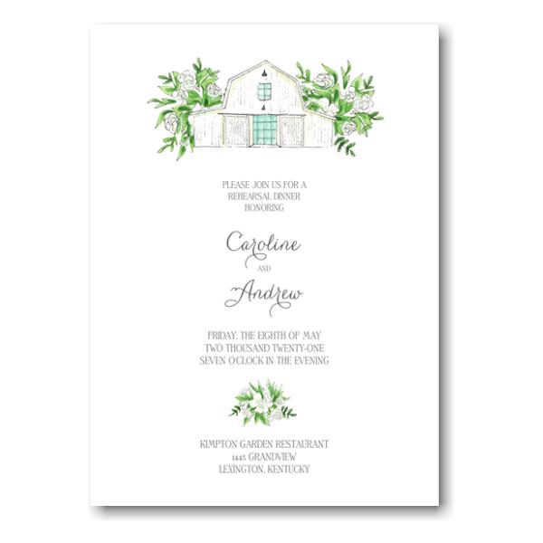 White Florals and Barn Wedding Invitation Icon