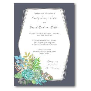 Modern Succulents Wedding Invitation Icon
