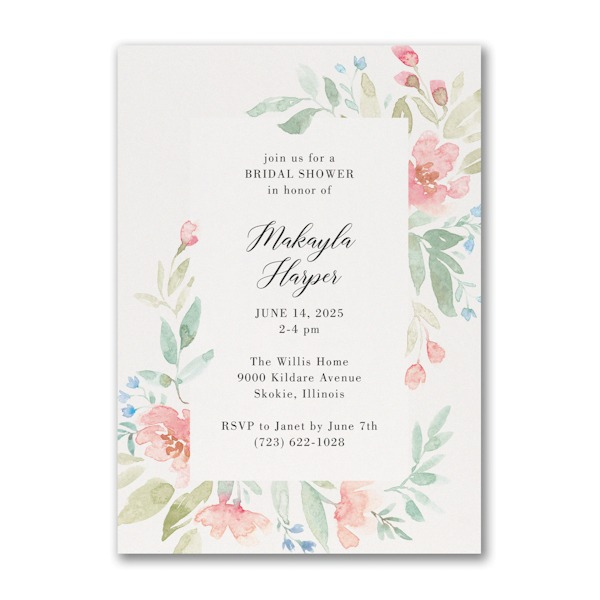 Flourishing Watercolor Bridal Shower Invitation alt