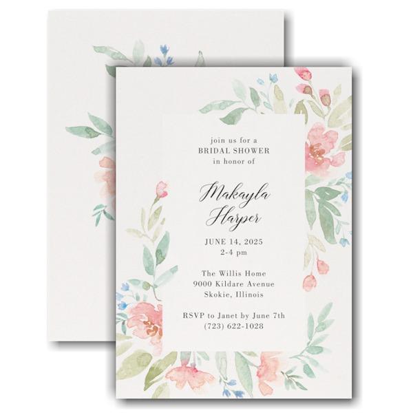 Flourishing Watercolor Bridal Shower Invitation