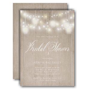 Woodgrain Lights Bridal Shower Invitation